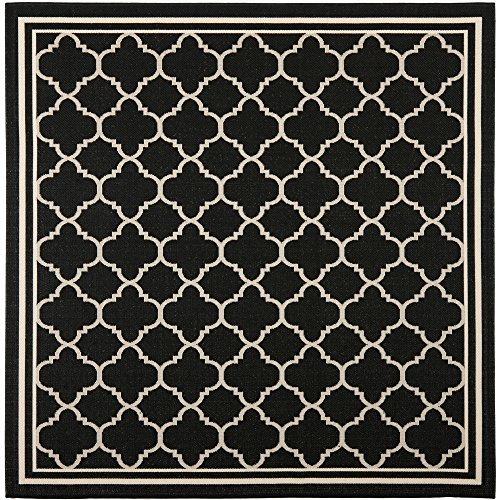 Safavieh Courtyard Collection CY6918-226 Black and Beige Indoor/ Outdoor Square Area Rug (4' Square)