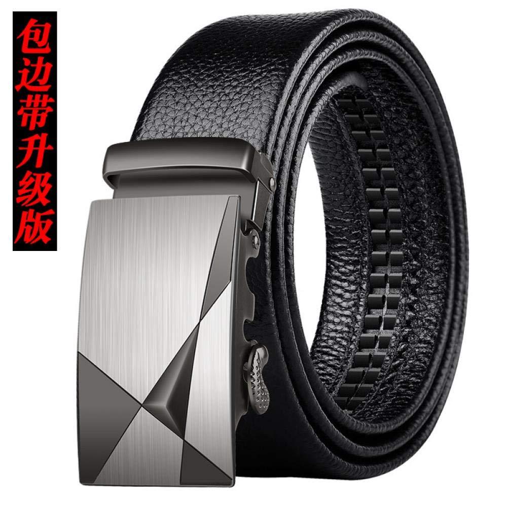 Men's Belt Men's automatic buckle belt Black trousers belt soft 304-Black Side Band-Upgraded Edition 120cm