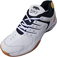 Port Women's Speed Pro White Gold Pu Badminton Shoes