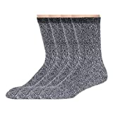 NC Hosiery, Casual Crew Socks - American Sport Men's, Gray Heather, 4 PAIR LARGE (10-13) SHOE 8-12