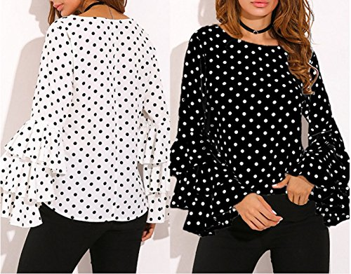 Shirts Tops Rond Haut et Blouses Mode Tee Flare Femmes Vert Shirt Col Chemisiers Slim Pois Sleeve Automne Printemps T Casual wpUOq1X