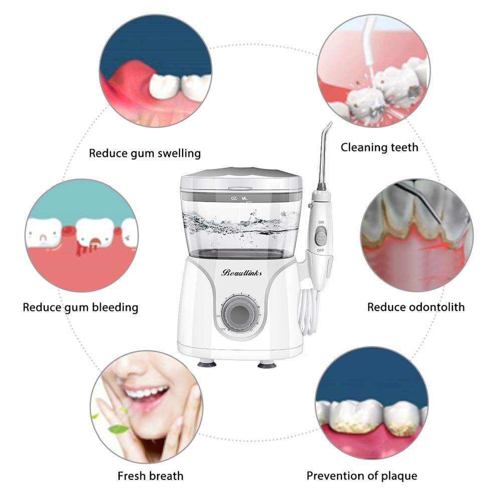 Dental Water Flosser Professional Oral Irrigator High Frequency Pulsed With 600ML Large Capacity And 7 Interchangeable Nozzles For Adults & Kids