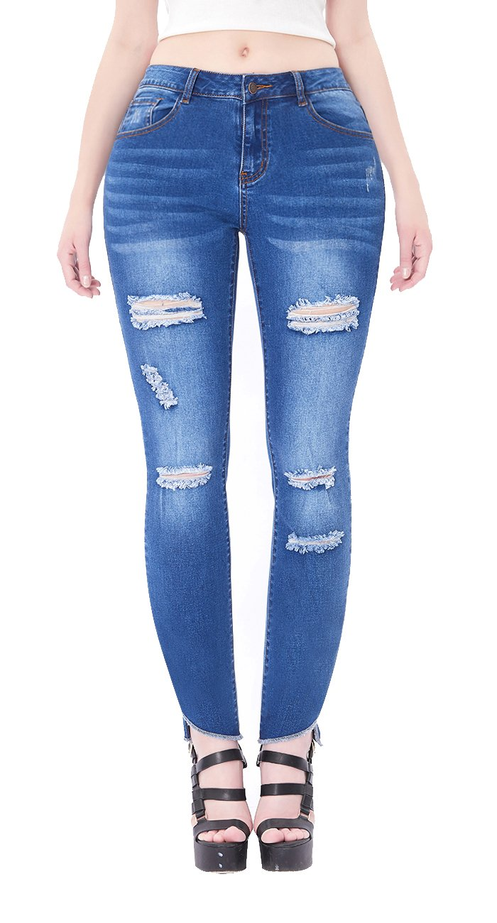 VICVIK Womens Blue Distressed Ripped Skinny Stretch Jeans Butt Lift Leggings Super Comfy Denim Pants (Dark Blue, US 13)
