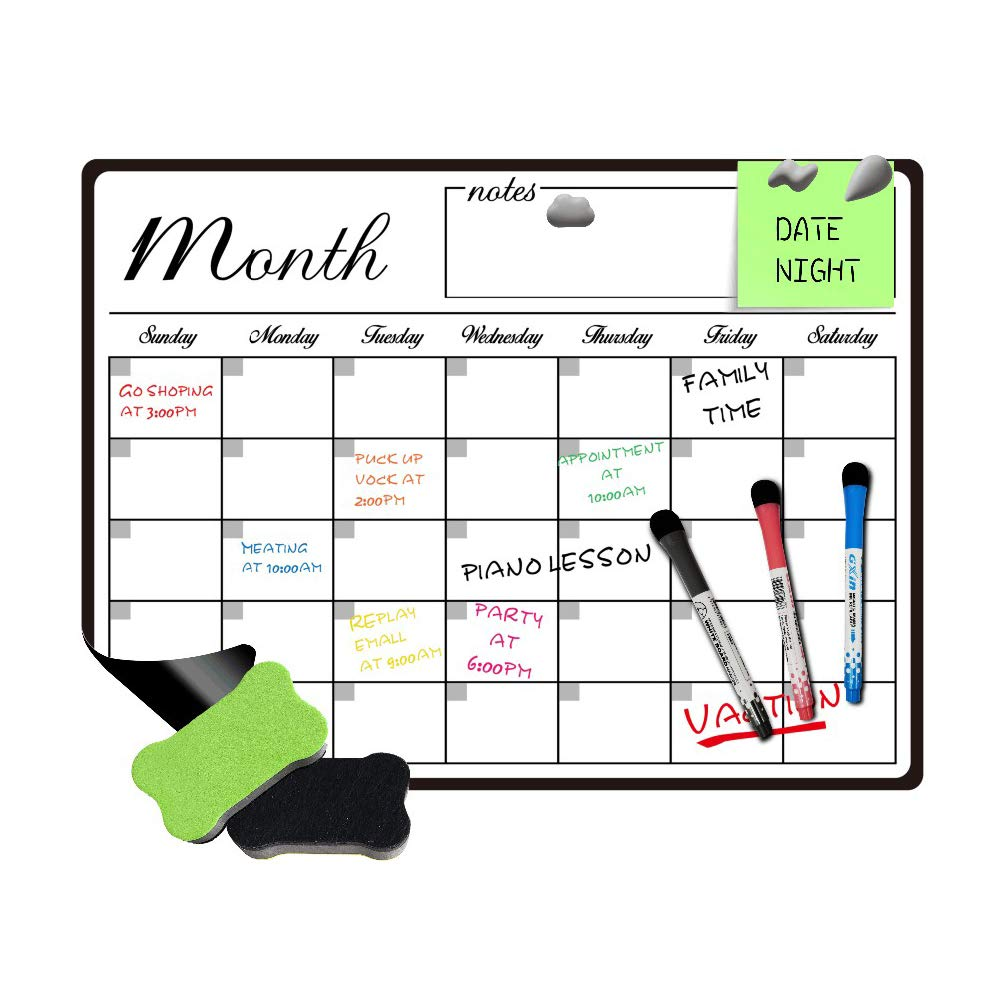 Hodleys Erasable Dry Erase Monthly Planner Magnetic Whiteboard Calendar for Fridge, with Stain Resistant Technology-Monthly Whiteboard Wall Organizer: Refrigerator White Board (19X13 in)