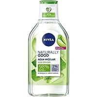 NIVEA Naturally Good Agua Micelar con Aloe Vera Bio (400 ml), Limpiador facial que elimina el maquillaje y las impurezas…