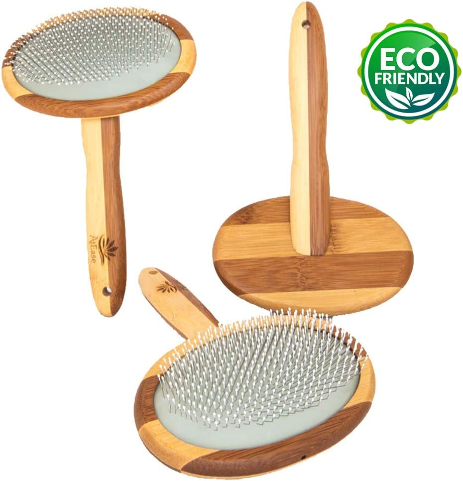 AtEase Accents Natural Bamboo Deshedding Slicker Brush - for Matted Short and Long Haired Dogs Cats Gentle Easy Grooming