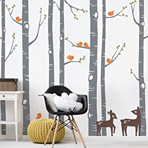 """Simple Shapes Birch Tree with Bird and Deer Wall Decals - Scheme B - 96"""" (243 cm) Tall Trees"""