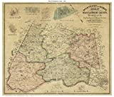 Montgomery County Maryland 1865 - Wall Map with Homeowner Names - Old Map Reprint