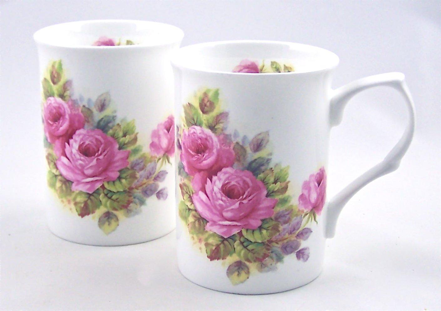 Pair Fine English Bone China Mugs - Rose Pinks Chintz - Crown Victorian China, Staffordshire, England