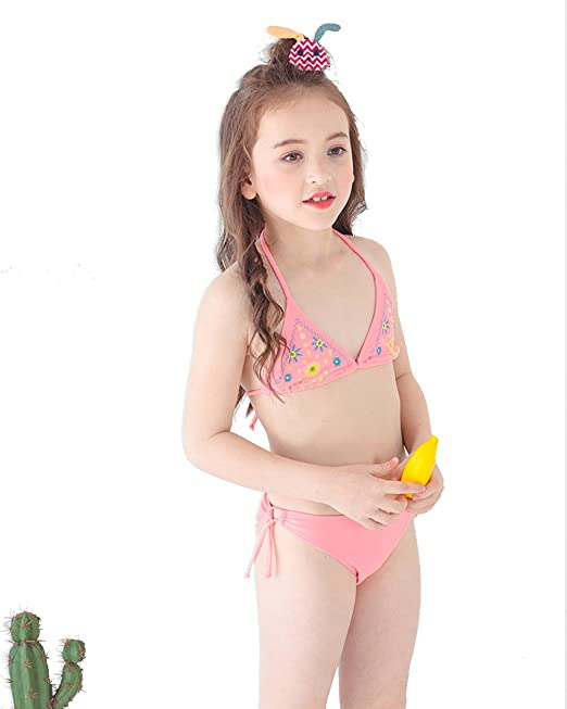 570848f6d6058 Amazon.com  INCIPHER Girls Swimsuits Two Piece Swimwear Pink Color Bathing  Suit Summer and Beach Bikini Set Size 5-6Years Old  Clothing