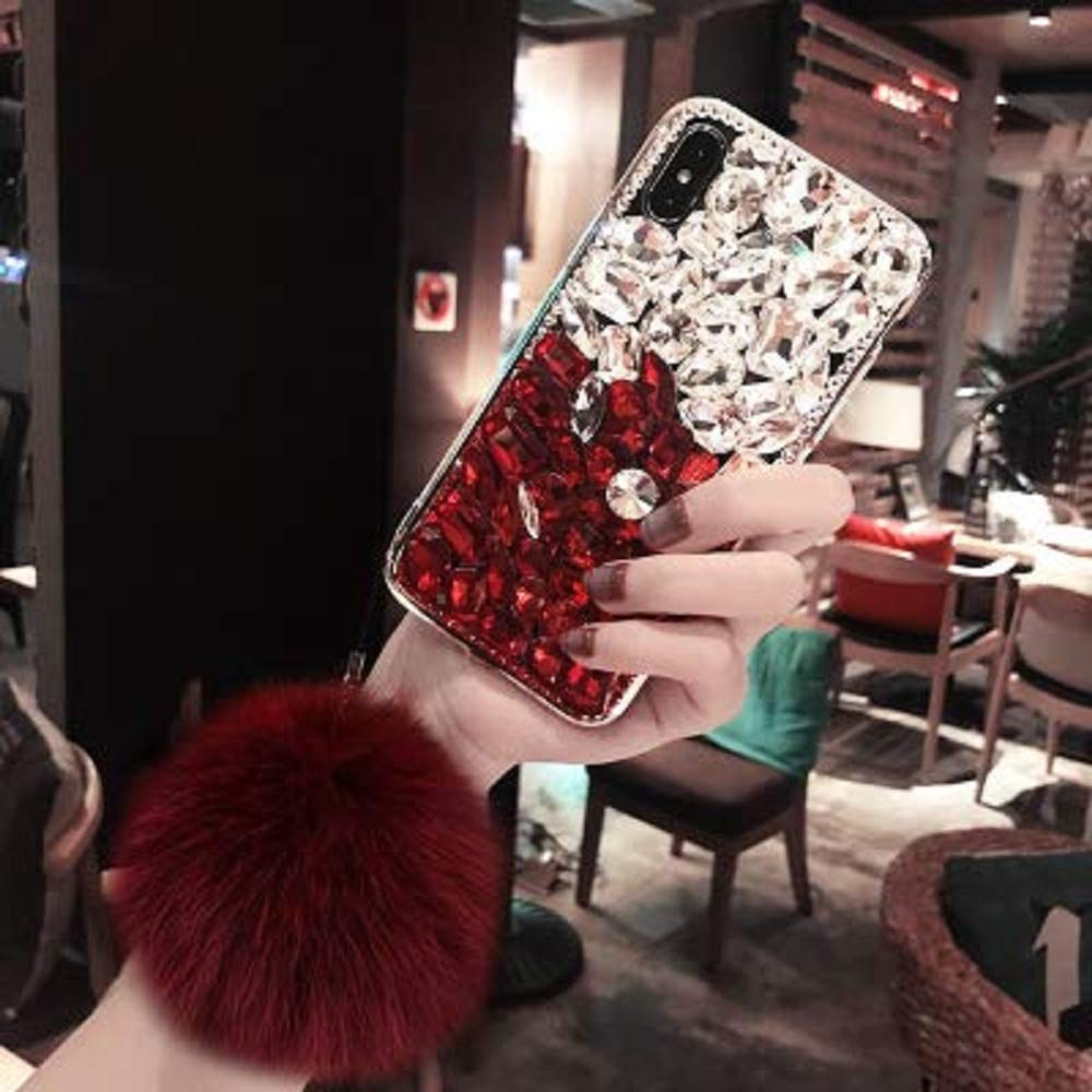 Cfrau Luxury Full Diamond Case with Black Stylus for Samsung Galaxy Note 10/Note 10 5G,3D Handmade Stunning White Red Stones Rhinestone with Rabbit Furry Plush Ball Sparkle Crystal Soft Bumper Case by Cfrau