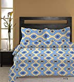 Bombay Dyeing Cardinal 100% Cotton Double Bedsheet with 2 Pillow Covers-Blue