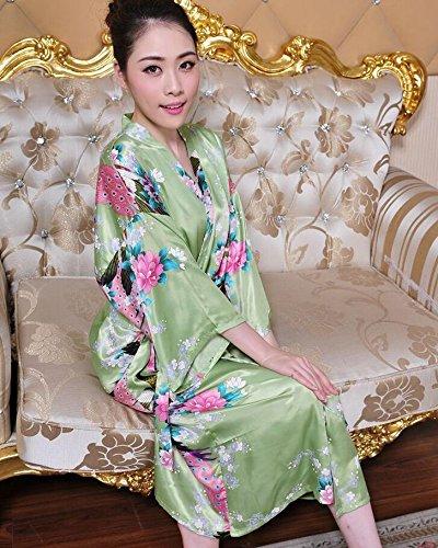 ZC&J Las señoras verano párrafo largo pantalones transpirables sección delgada de simulación de confort de seda trajes de alta calidad de moda pijamas de ropa interior de seda,Light blue,M Green