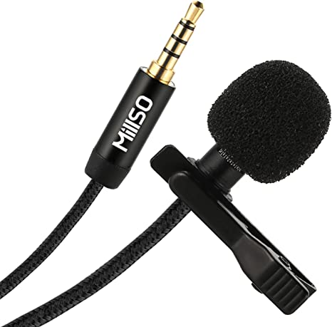 MillSO W11 Lavalier Micrófono 3,5 mm Omnidirectional Condensador ...
