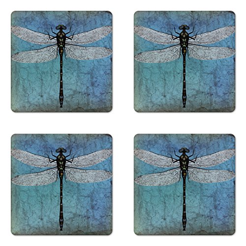 Ambesonne Dragonfly Coaster Set of Four, Grunge Vintage Old Backdrop and Dragonfly Bug Ombre Image, Square Hardboard Gloss Coasters for Drinks, Dark Blue Turquoise and Black ()