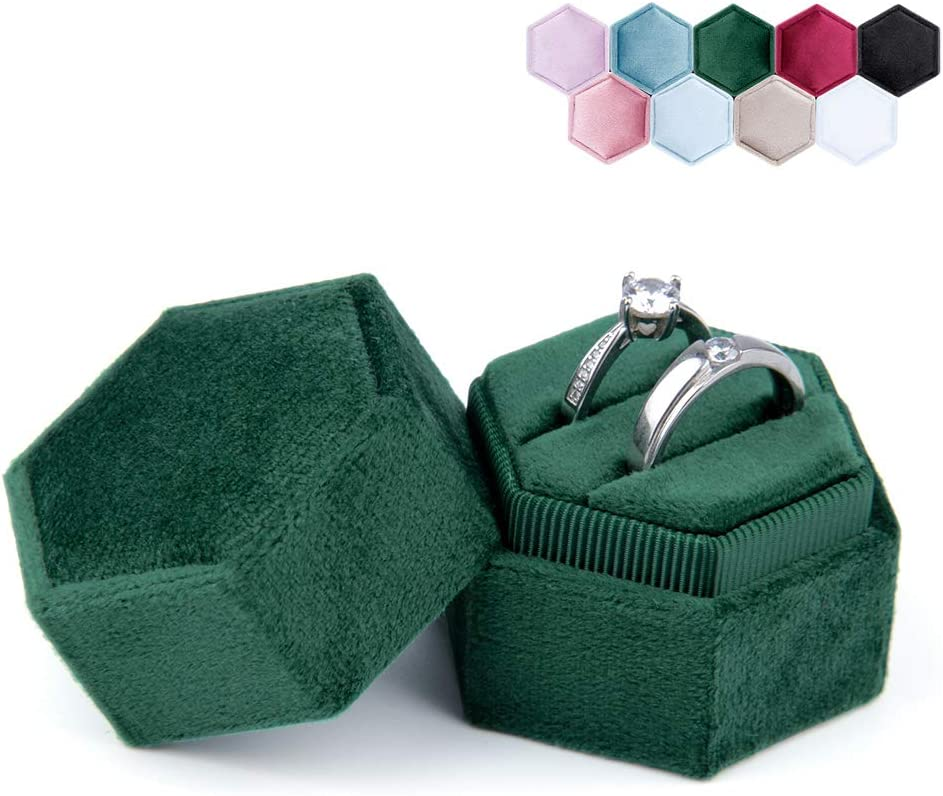 Ceremony (Emerald) Wedding Premium Gorgeous Vintage Double Ring Display Holder with Detachable Lid for Proposal Engagement DesignSter Hexagon Velvet Ring Bearer Box
