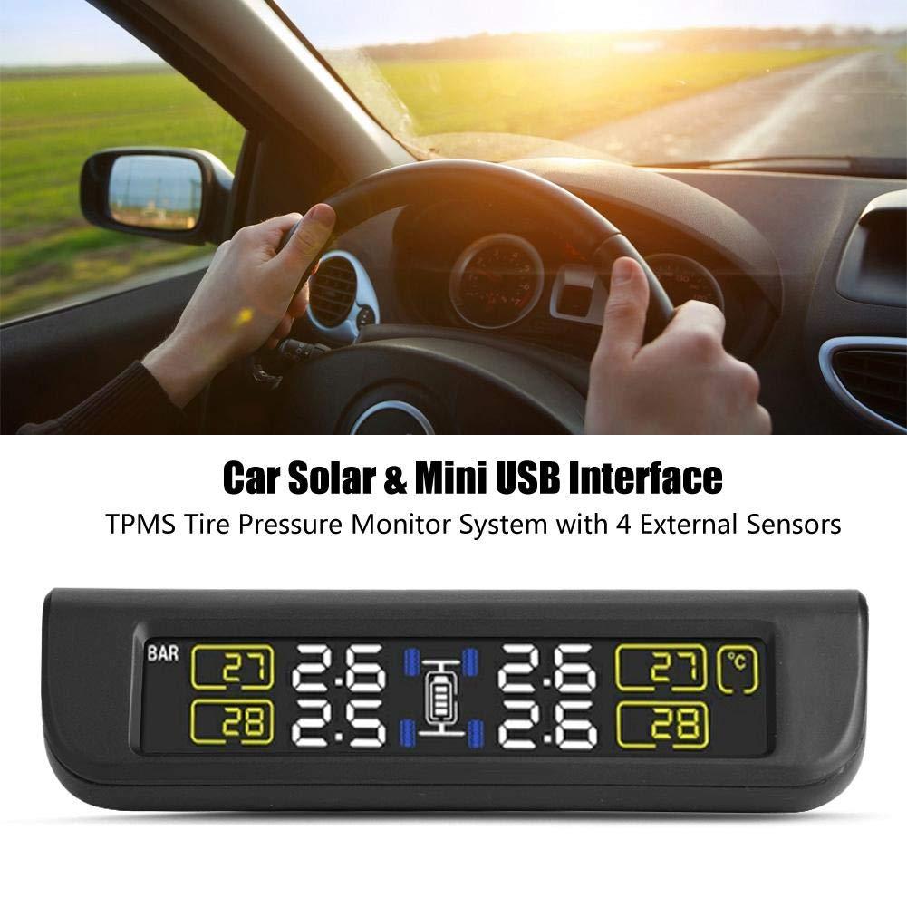Solar Power TPMS sistema di monitoraggio della pressione degli pneumatici in tempo reale senza fili Porta USB con 4 sensori esterni