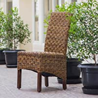 International Caravan SG-3308-2CH-IC Furniture Piece Manila Abaca/Rattan Wicker Dining Chair (Set of 2)