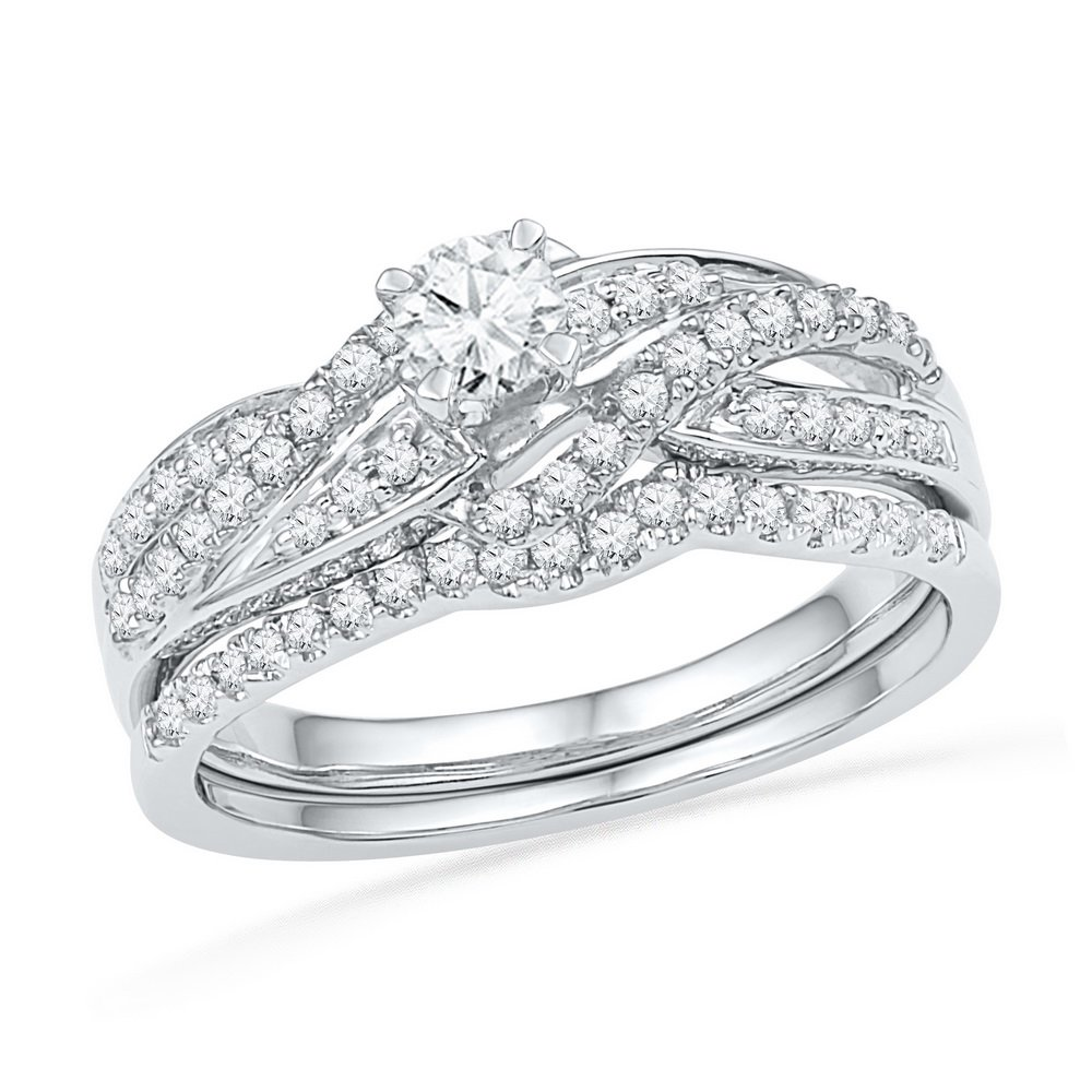 10K White Gold Bridal Swirl Real Diamond Wedding Engagement Ring Set 1/2 CT (I2 clarity; G-H color)