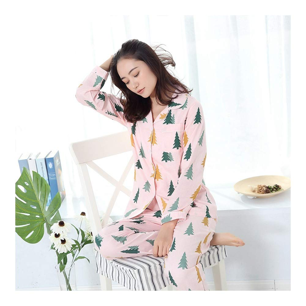 HAOLIEQUAN Sleepwear Women Pajama Sets Autumn Spring Women Stampa Floreale Manica Completa Girocollo Colletto Girocollo Set 2 Pezzi Set Pijama
