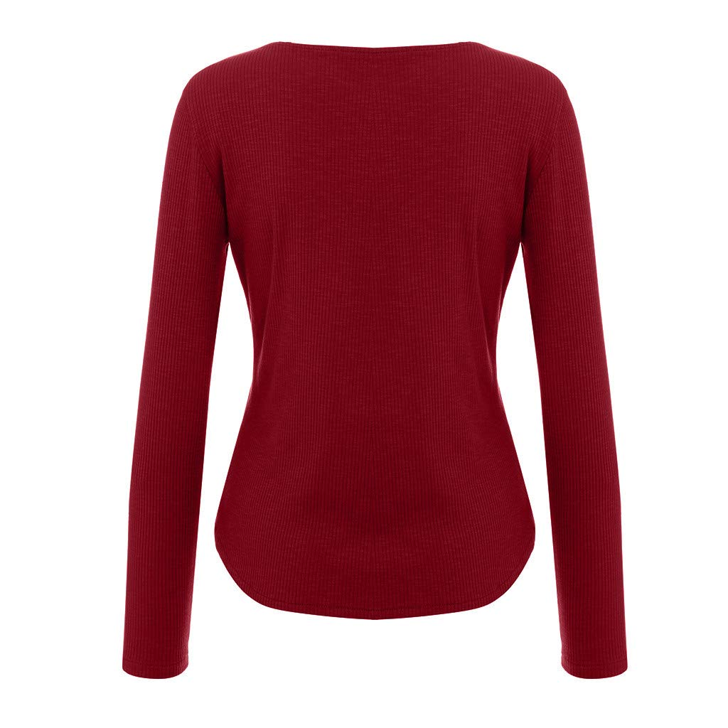 b207eed5072 Women Sweatshirt V-neck Long Sleeve Solid Blouse Shirt Elastic Pullover  Tops Shirt Blouse (Red