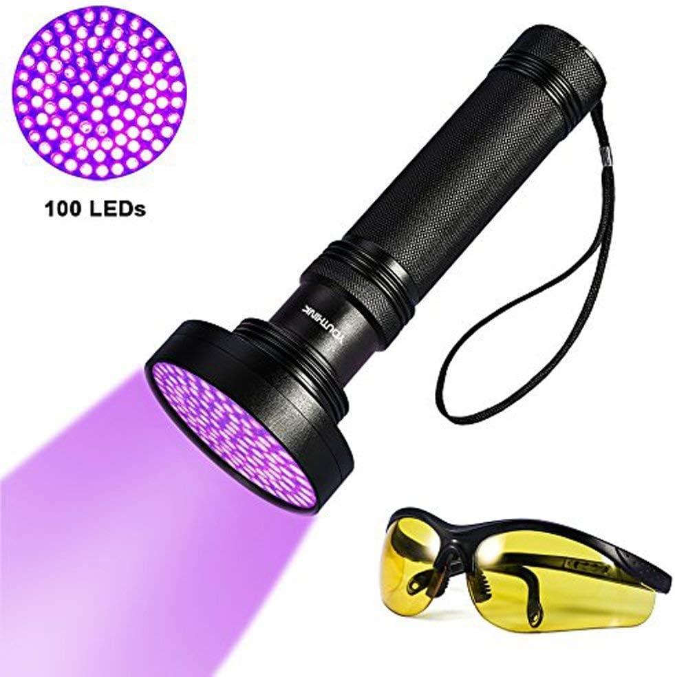 Linterna UV 100 LEDs, Linterna Ultravioleta de 395 nm para Detectar Orina de Mascotas en Alfombra, Lampara Flashlight Portable para Manchas de Cocinas, Caza Escorpión (New 100 LEDs)