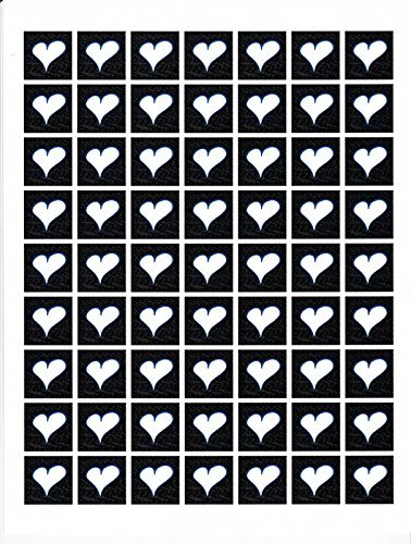 Heart Cardstock White Heart Blue Outline Black Background Sheet of 63 Jewelry Making Clip Art Collage from Whimsyville USA