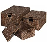 espresso basket set - Best Choice Products Set of 3 Water Hyacinth Nesting Baskets W/Separate Lids Brushed Espresso