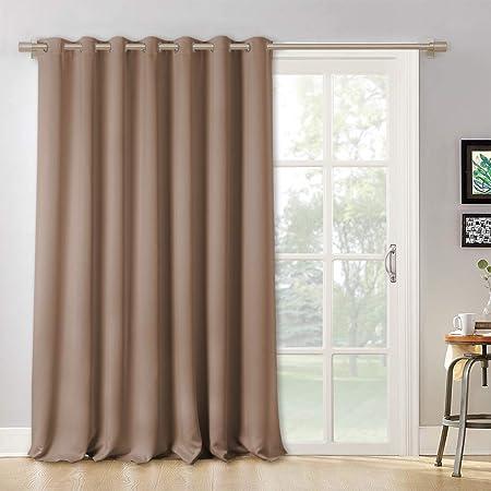Cortinas opacas RYB HOME para puertas correderas resistentes con protección para muebles de luz solar, anillo plateado en la parte superior de la ventana de dormitorio portátil, 100