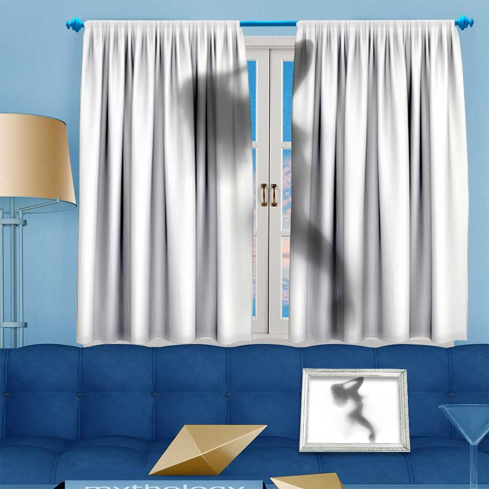 2 Panel Set Digital Printed Window Curtains Mysterious woman dances behind the curtain for Bedroom Living Room Dining Room 72''W x 63''L