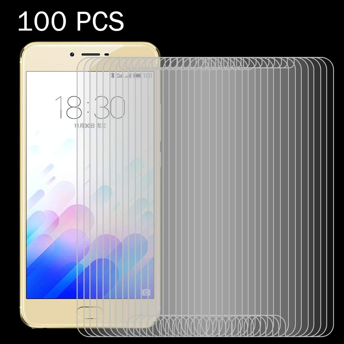 ZYS Screen Protector 100 PCS for Meizu Meilan X 0.26mm 9H Surface Hardness 2.5D Explosion-Proof Tempered Glass Screen Film