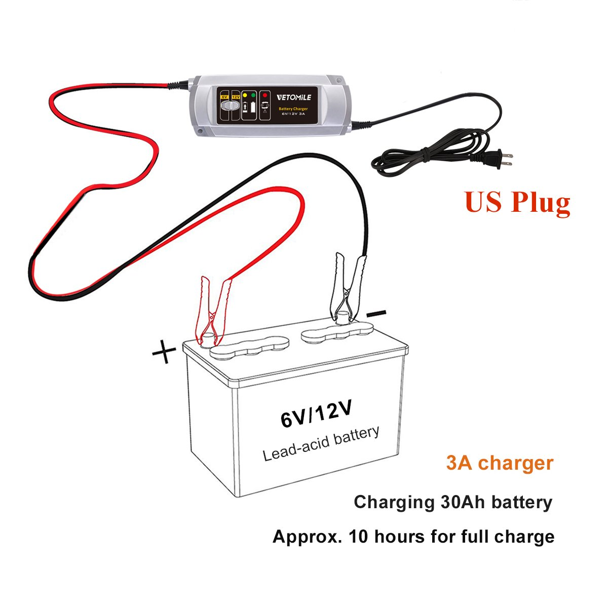 Vetomile Battery Charger Maintainer 3a 6v 12v Trickle Wire Diagram Car Rv Motorcycle Mower Automotive