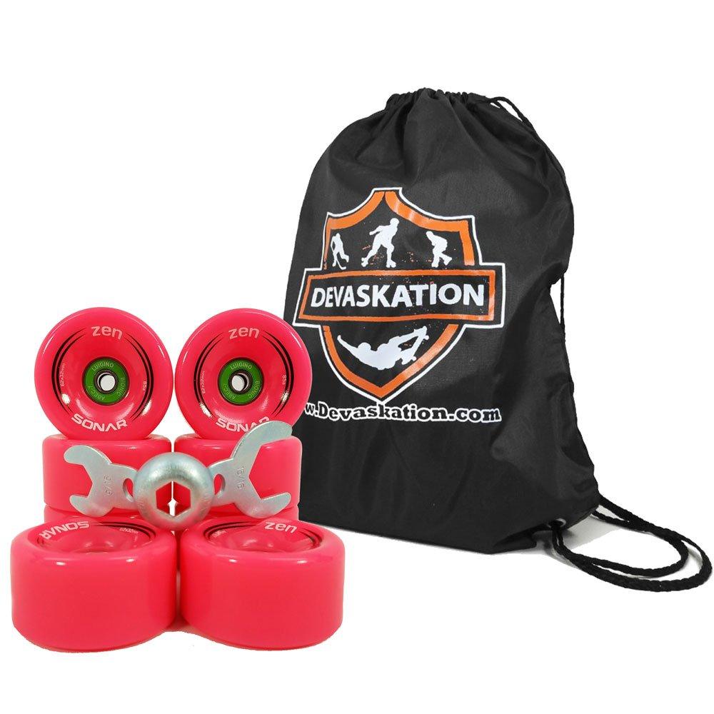 Riedell Sonar Zen Outdoor Skate Wheels 8pk With Bionic Abec 7 Bearings Installed W/Bonus Devaskation Drawstring Backpack and Skate Tool - Red