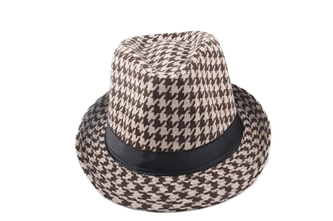 a0dbc2eebc1 Dantiya Men s Plaid Wool Fedoras Jazz Trilby Hats (Brown) at Amazon Men s  Clothing store