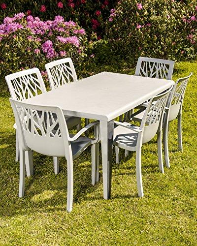 Grosfillex Vegetal Chaise pour salon de jardin table et 6 chaises ...