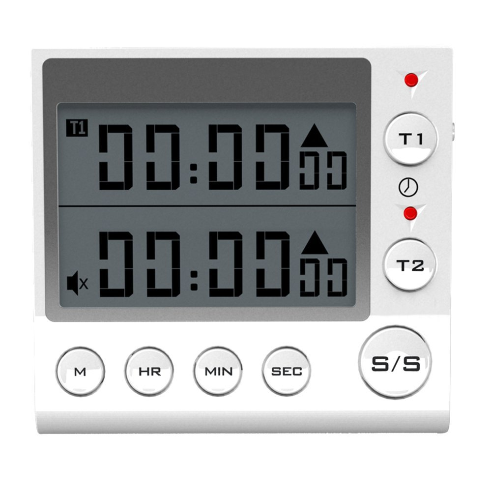 Digital Countdown Timer 2 Channel Flashing LED for Lab Electronic Kitchen Homework Exercise Gym Workout Cooking Sports Games and Classroom. (White)