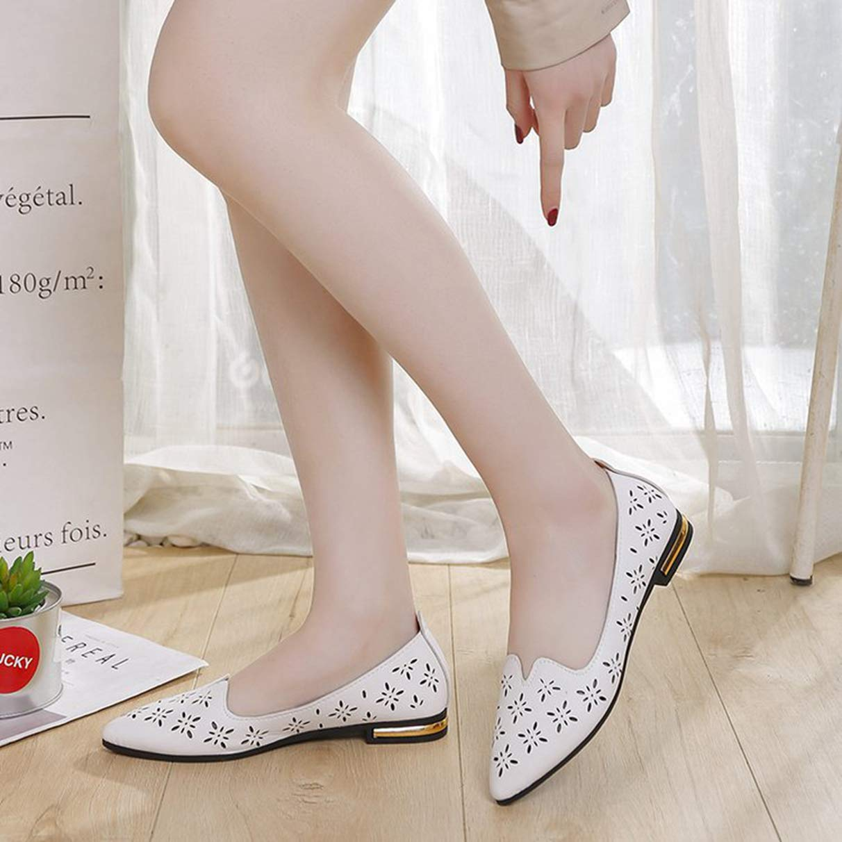 Owen Moll Women Flats Comfortable Hollow Floral Slip On Pointed Toe Shoes