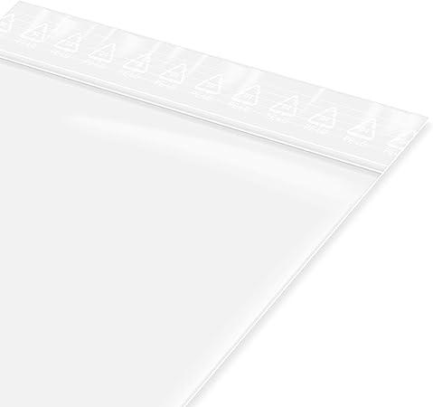 unbedruckt Lebensmittelgeeignet Transparent 200 St/ück Druckverschlu/ßbeutel in 180x250 mm 90 m/µ
