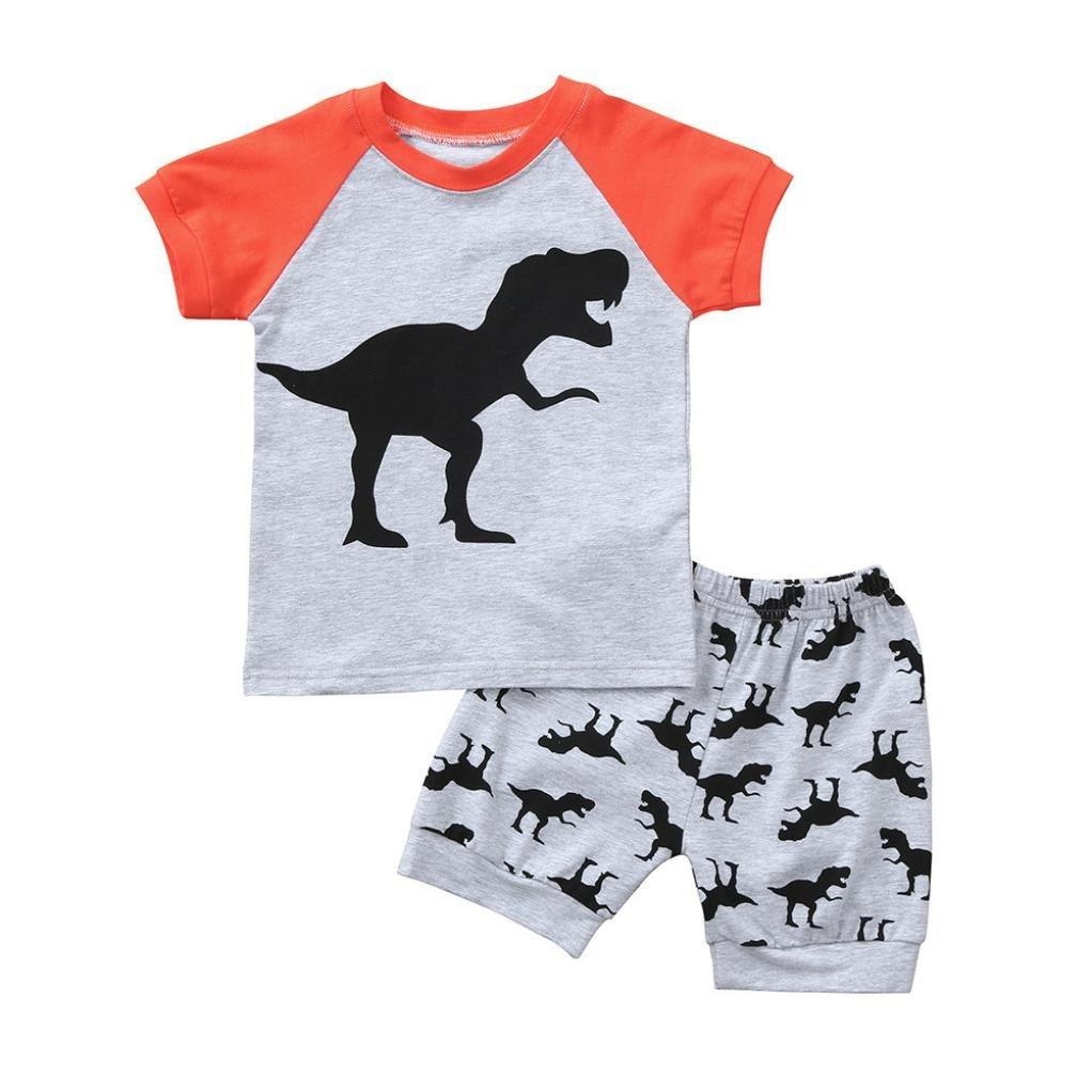 Jimmackey 2Pcs Bambino Ragazzi Completo Set Striscia T-Shirt Pigiama Stampa Dinosauri Cime + Stampato Bimbo Pantaloncini