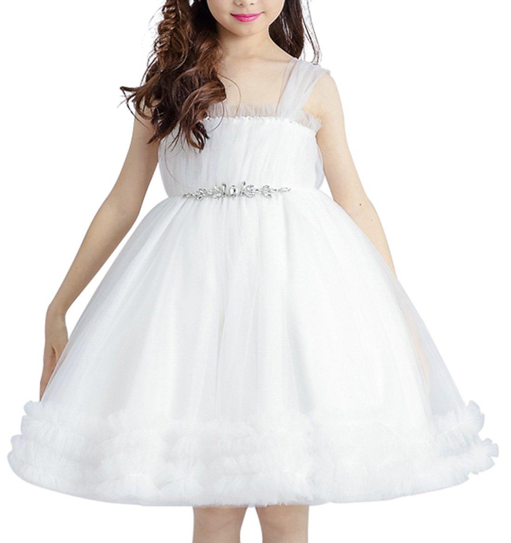 SimpleC Mädchen Prinzessin Tüll Strap Kleider Blumenmädchen Kleid ...