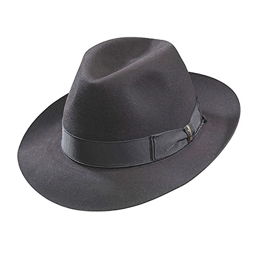 e9e04be0f4b Borsalino Beaver Fur Felt Hat - Dark Grey Medium Brim - Charcoal Grey - 57