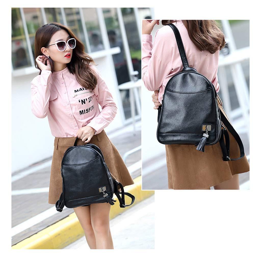 Color : Black, Size : 261333cm KJVHJN Ladies Shoulder Bag Fashion Leisure Tassel Backpack Student Travel Double Shoulder Bag College School Bag
