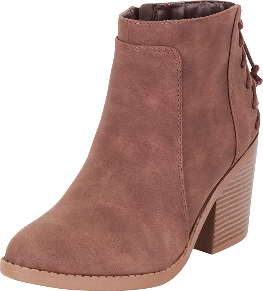 Brown Nbpu Cambridge Select Women's Back Corset Lace Chunky Stacked Heel Ankle Bootie