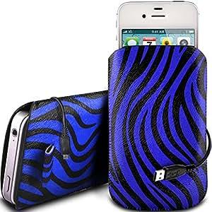 N4U Online - Azul - Samsung Galaxy Ace 4 protección PU Zebra Diseño deslizamiento cordón tirador de la cremallera en la caja de la bolsa con cierre rápido y Datos USB cable de carga