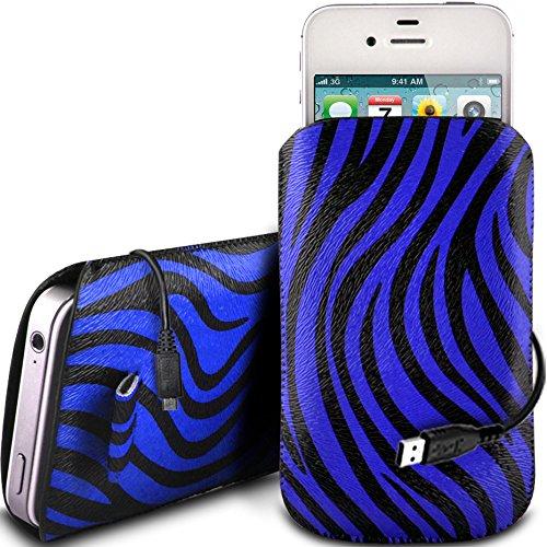 N4U Online - Apple Iphone 4S protection en cuir PU Zebra Conception Pull Tab cordon glisser Housse Etui Quick Release et de données USB Câble de charge - Bleu