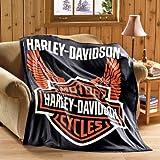 Harley Davidson Motorcycle Fleece Throw Blanket