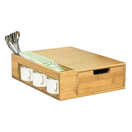 SoBuy® Cajón para almacenar cápsulas de Nespresso,Cubertería y Bandeja para Utensilios,FRG256
