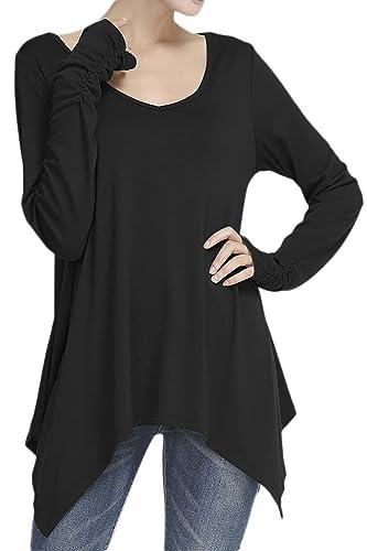 Mujeres Profundo Cuello En V Manga Larga Camiseta Blusa Asimetrica