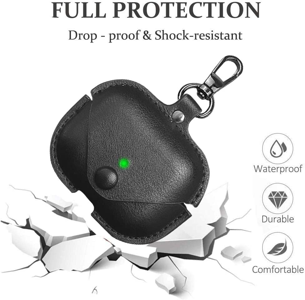 Black for Leather AirPods Pro Case Soft Leather Cover with Keychain Hook Watruer Protective Cover for Apple AirPods 3 Wireless Charging Case Headphones EarPods
