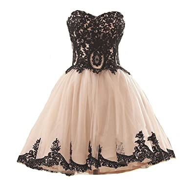 Kivary Short Tulle Vintage Black Lace Gothic Prom Homecoming ...